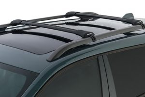 Roof rack with special sliding end caps for easy access Aerodynamic roof bars for closed flush rails modern design